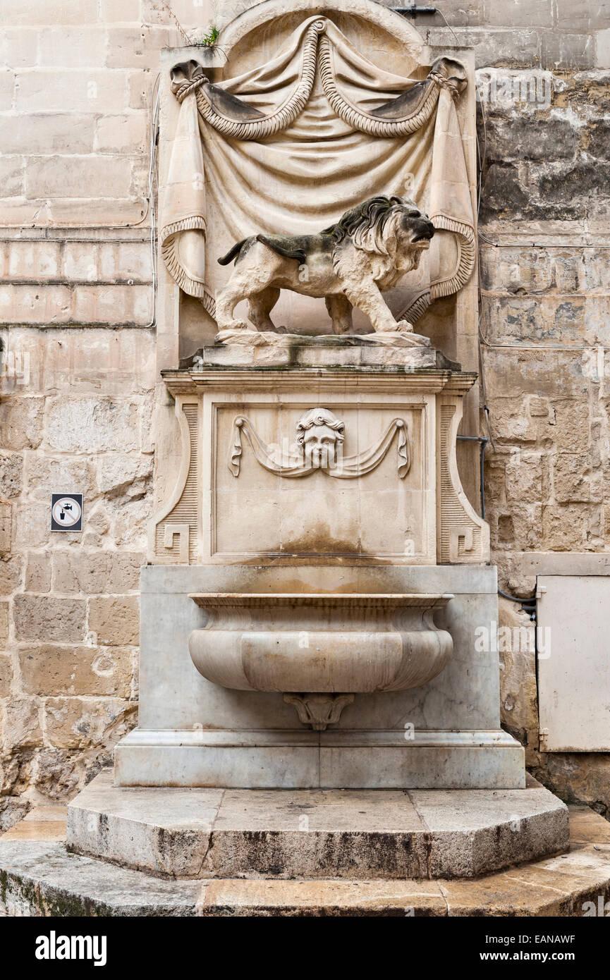 Valletta, Malta. Public drinking fountain - Stock Image