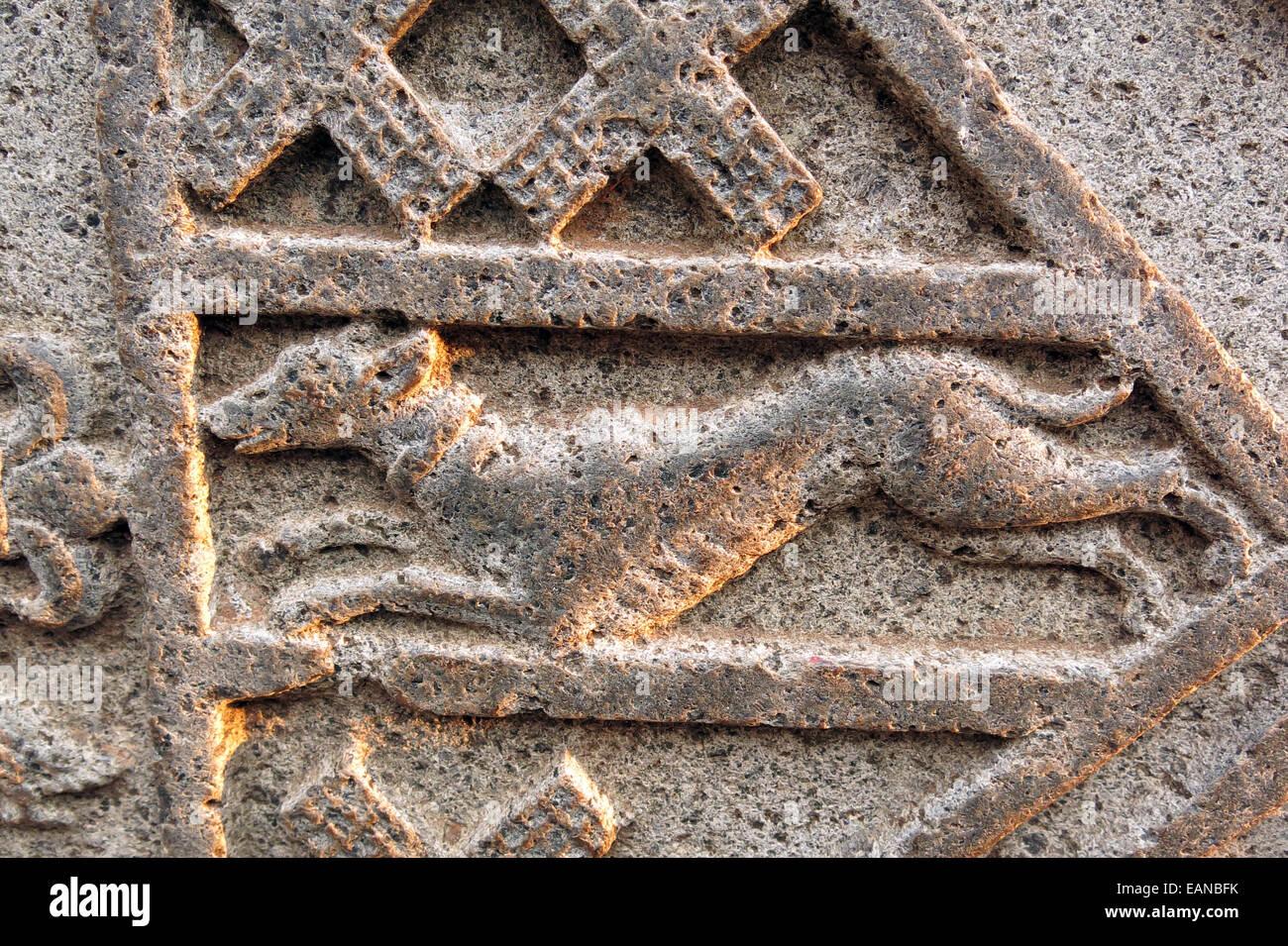 Polonnaruwa greyhound dog motif on ruins - Stock Image