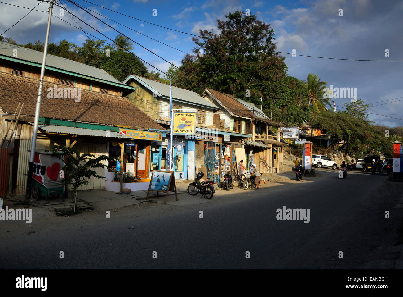Scuba diving shops on main street of Labuan Bajo in west Flores - Stock Image