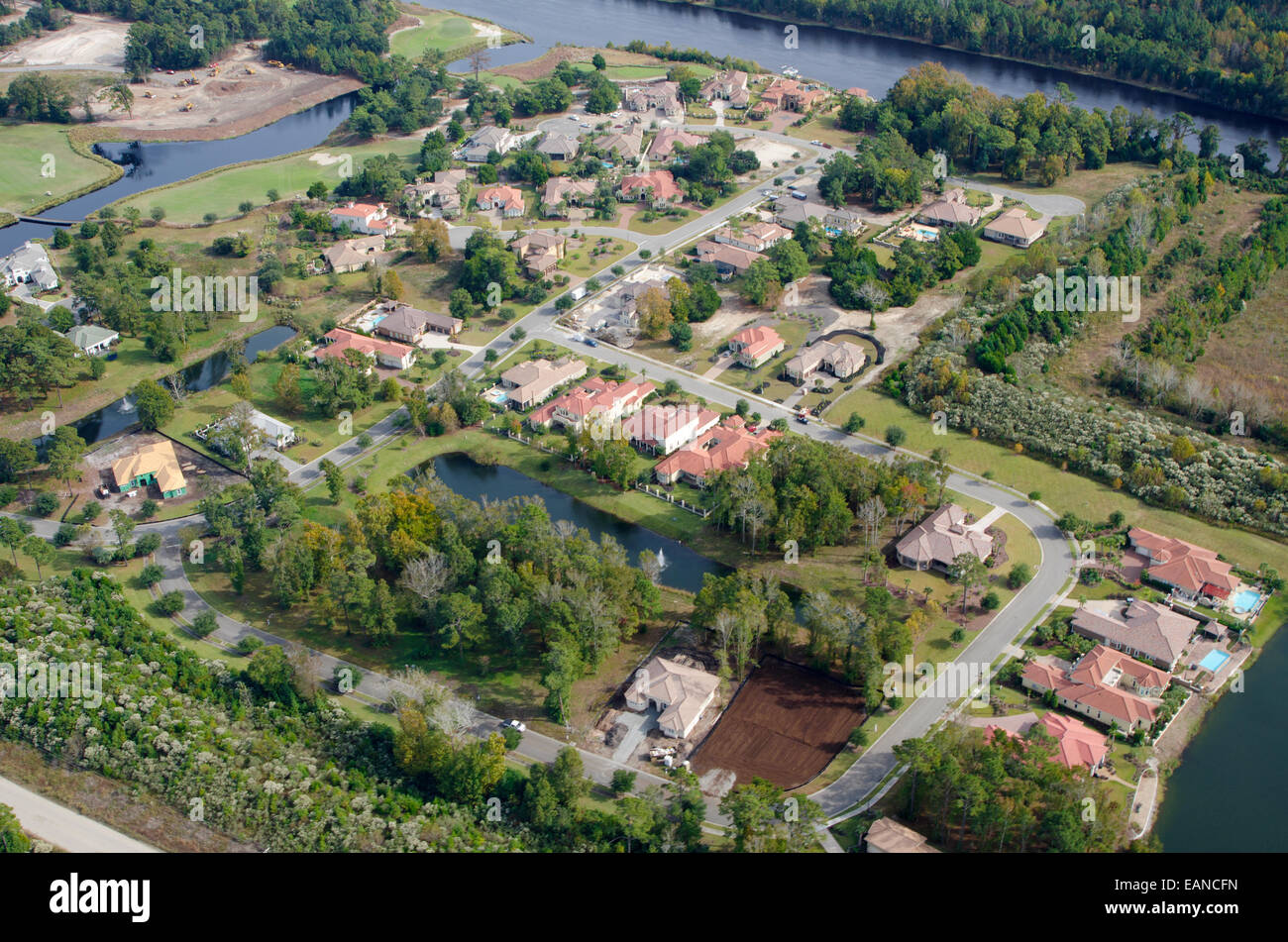 Aerial View of urban sprawl and the Grande Dunes community in Myrtle Beach, South Carolina. All logos have been - Stock Image