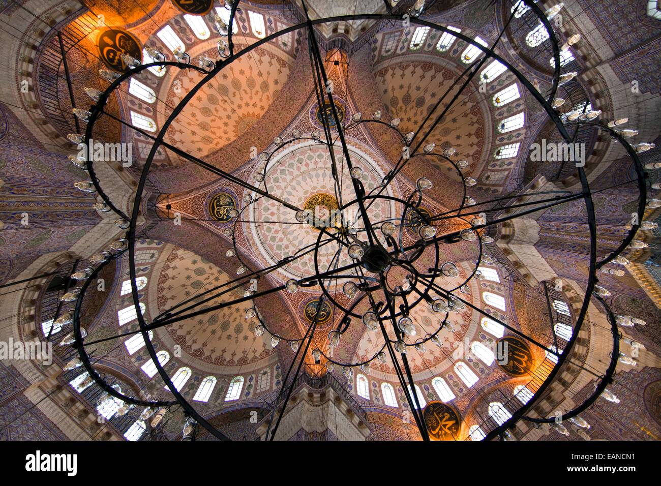 Interior of the Sultan Ahmed (Blue) mosque, Istanbul - Stock Image