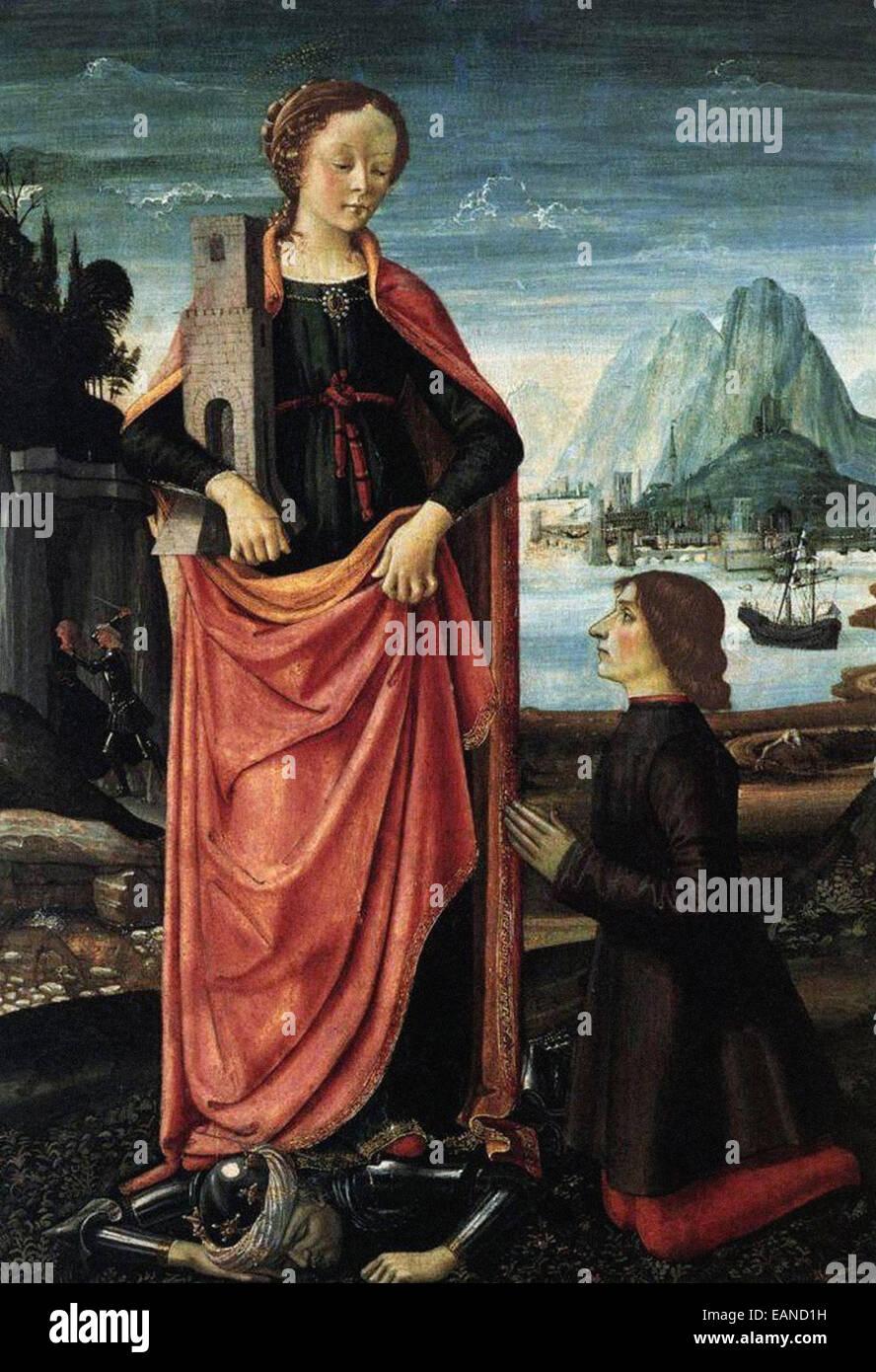 Domenico Ghirlandaio  St. Barbara Crushing Her Infidel Father - Stock Image