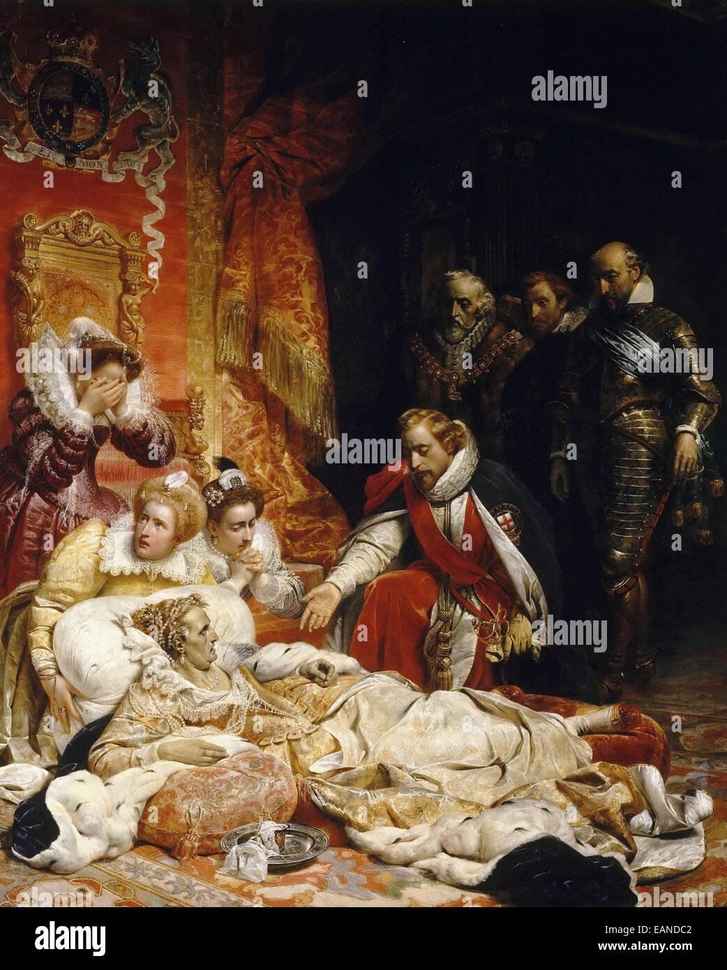 Paul Delaroche  Death of Elizabeth I, Queen of England - Stock Image