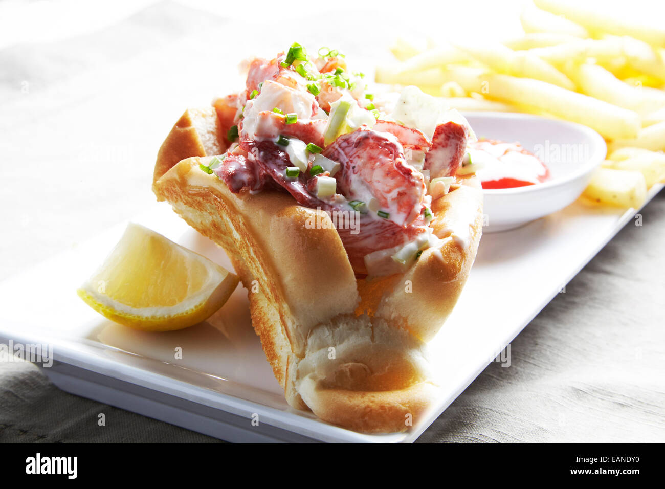 Main Lobster roll with french fries catchup on a white plate - Stock Image