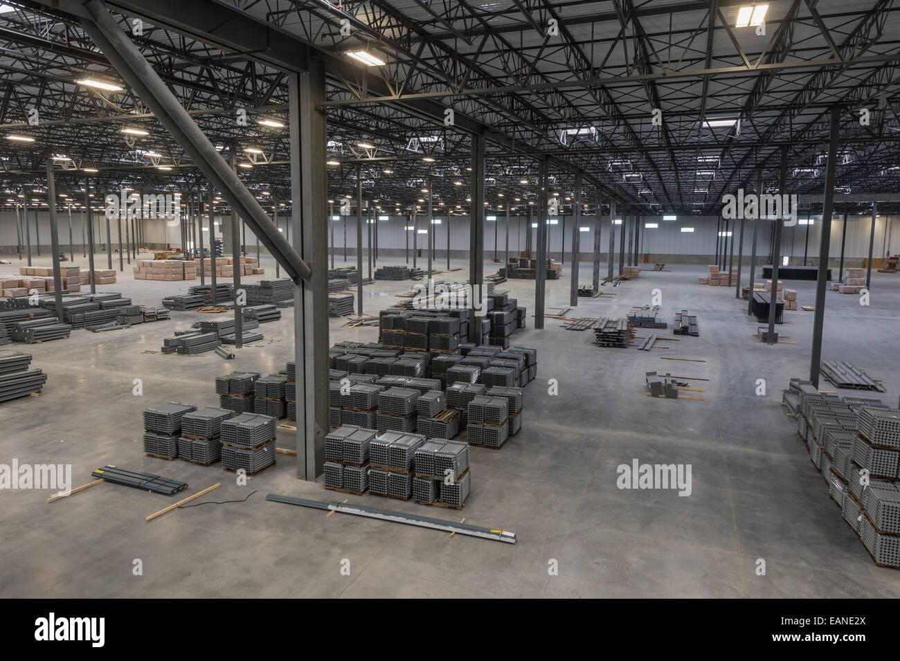 Large Warehouse Interior, Aerial View   Stock Image