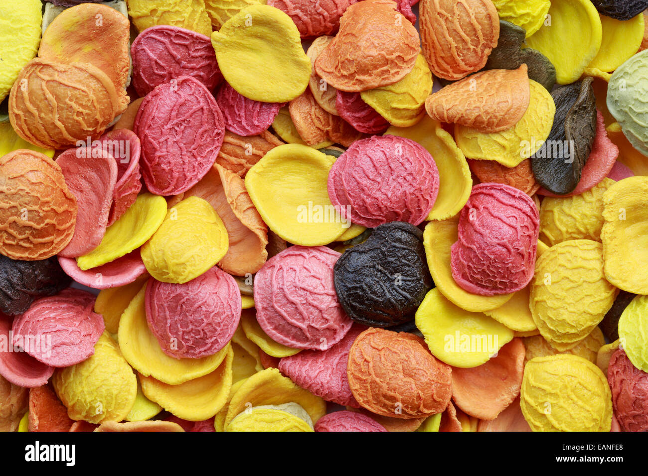 Background of colorful orecchiette pasta - Stock Image