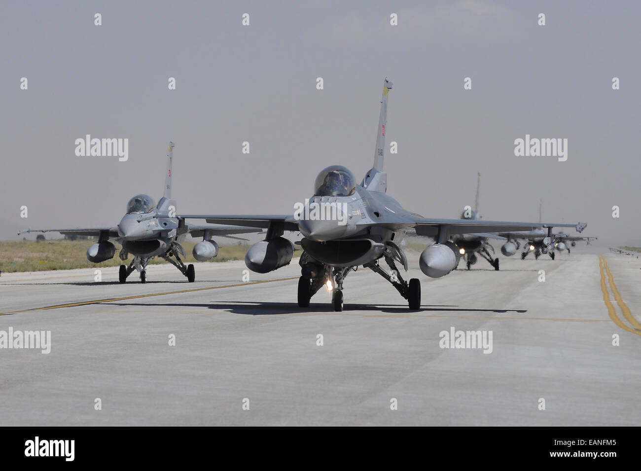Turkish Air Force F-16C/D aircraft taxiing on the runway at Konya Air Base, Turkey, during Exercise Anatolian Eagle - Stock Image
