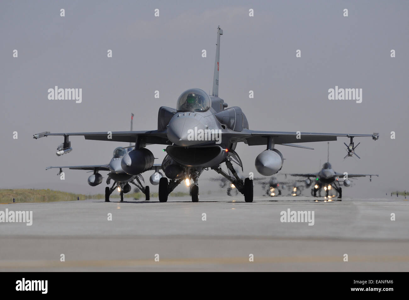 Turkish Air Force F-16C/D Block 52+ aircraft taxiing on the runway at Konya Air Base, Turkey, during Exercise Anatolian - Stock Image