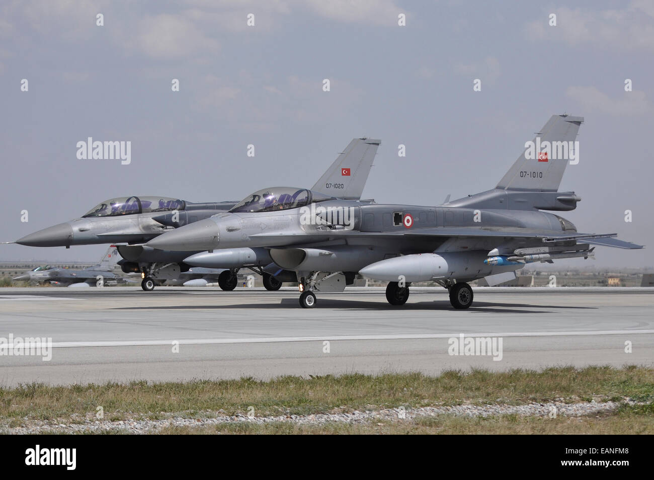 Two Turkish Air Force F-16C/D Block 52+ aircraft ready for take-off at Konya Air Base, Turkey, during Exercise Anatolian - Stock Image