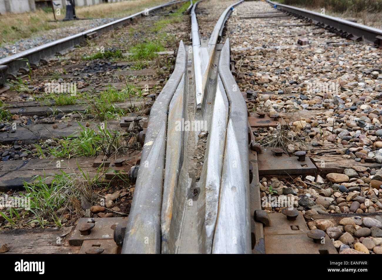 train line switch junction split Saskatchewan Canada - Stock Image