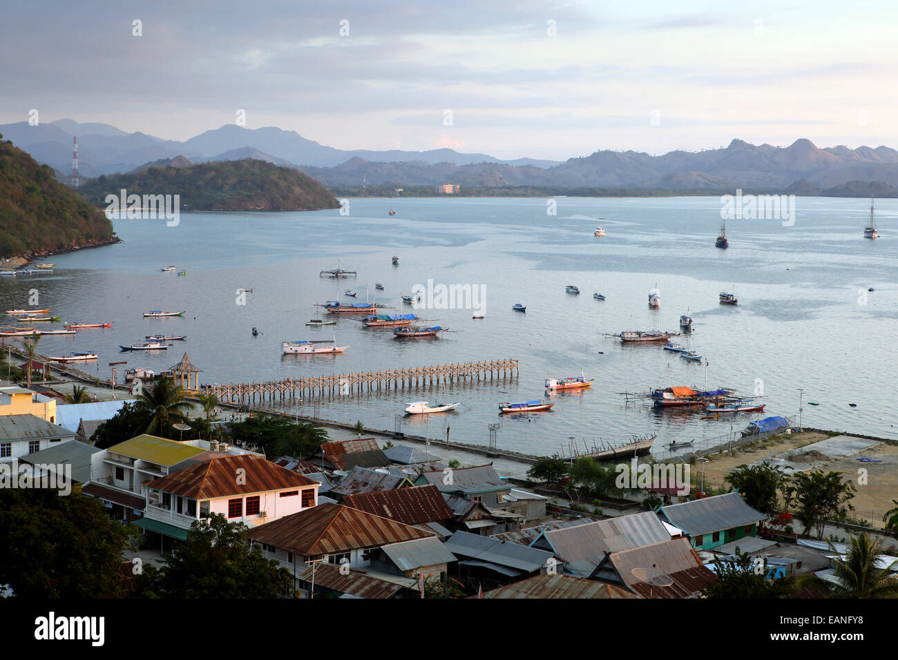 Labuan Bajo port town on Flores Island, Indonesia - Stock Image