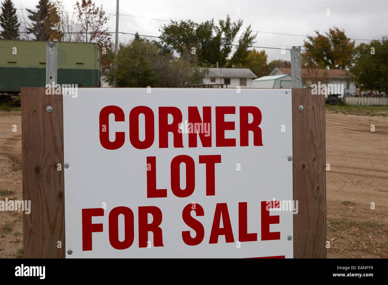 corner lot for sale sign on real estate Saskatchewan Canada - Stock Image
