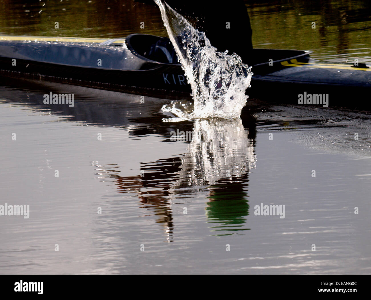 Water splash from a canoeists paddle, Cornwall, UK - Stock Image