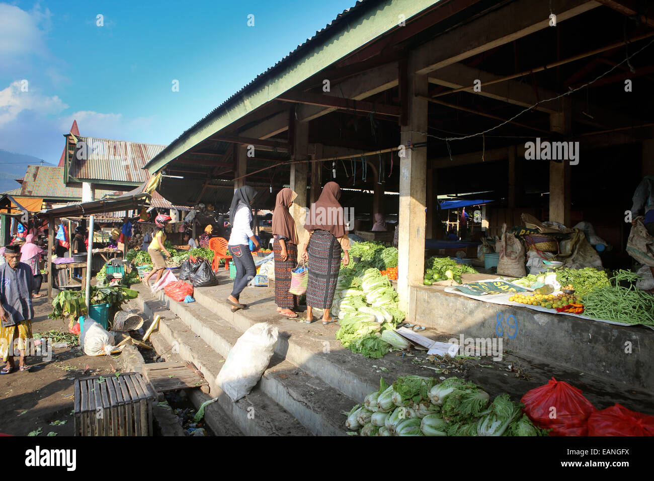Fruit and vegetable market in Ende, Flores Island Stock Photo