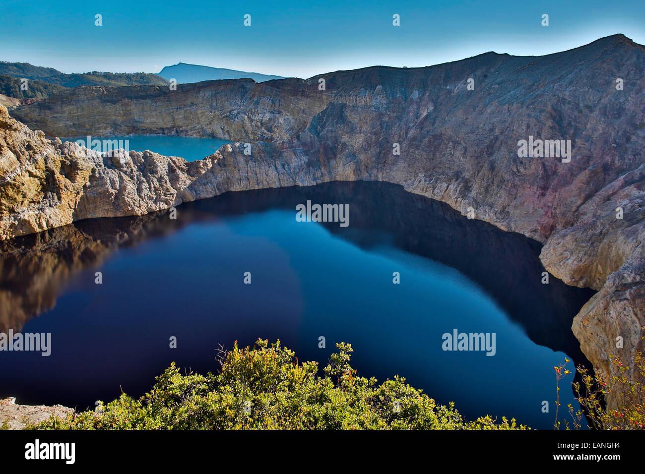 Kelimutu volcano crater lakes and caldera, Flores Island, Indonesia - Stock Image