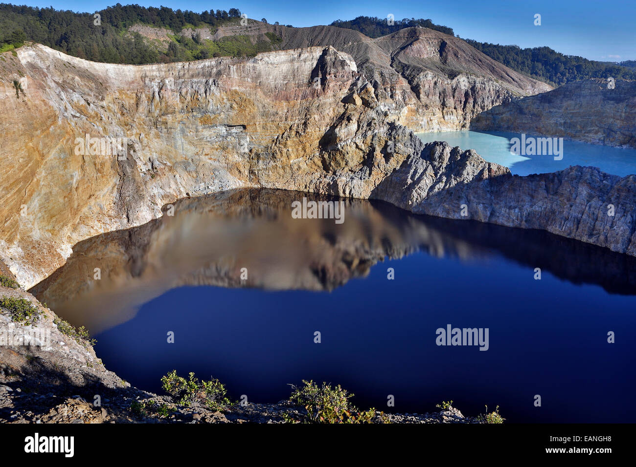 Kelimutu volcano crater lakes and caldera, Flores Island, Indonesia Stock Photo
