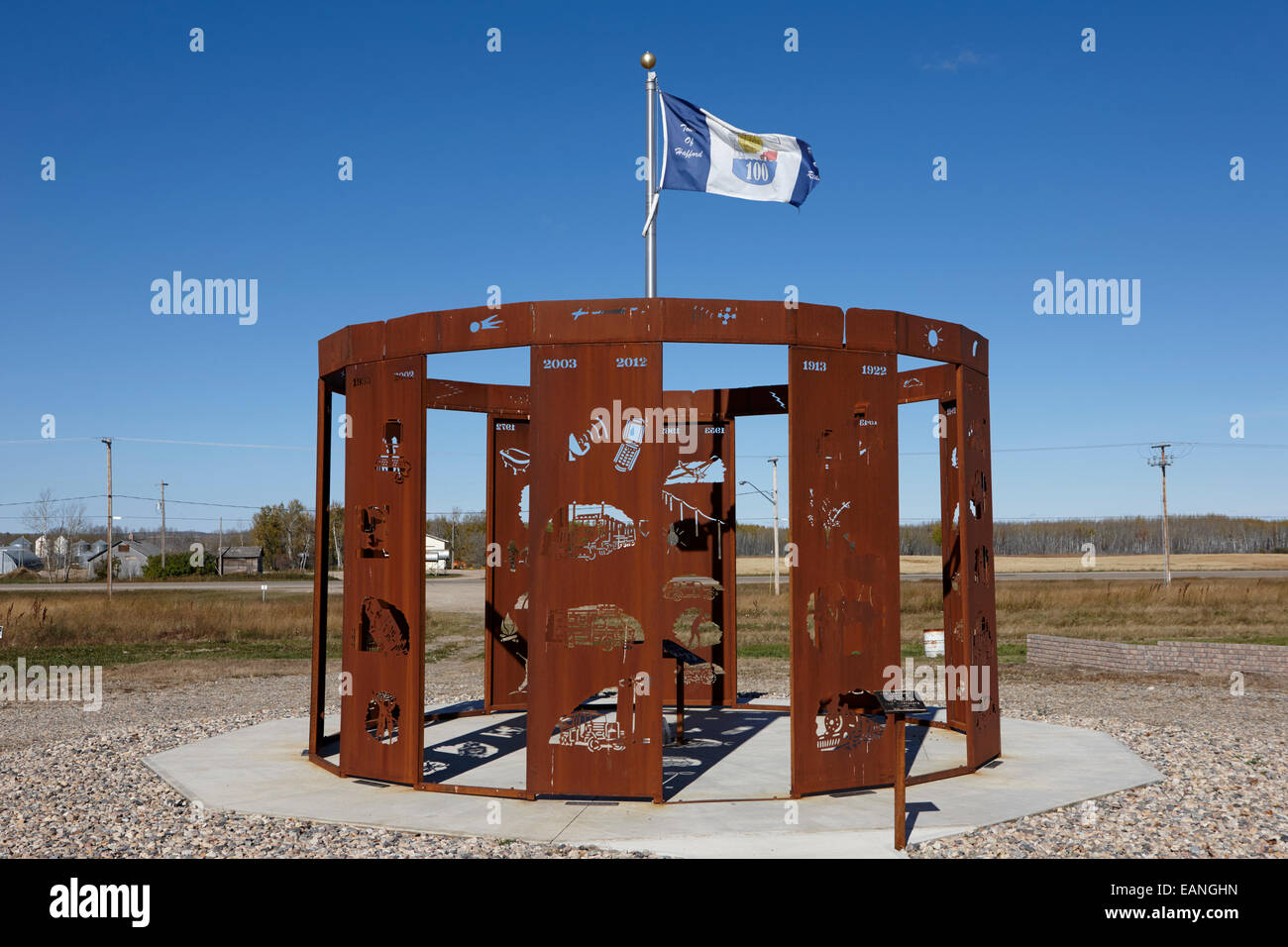 hafford centennial memorial sculpture Saskatchewan Canada - Stock Image