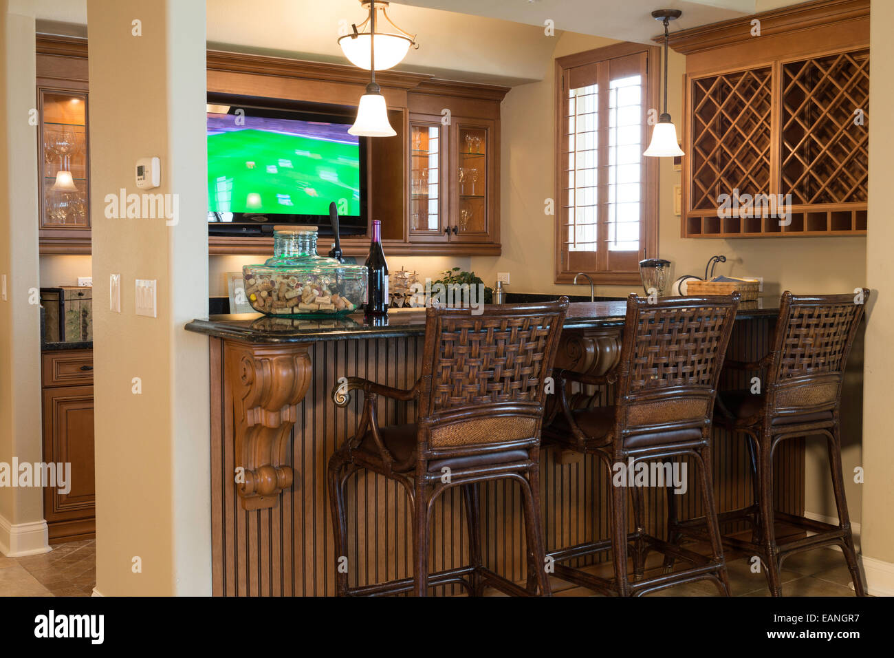 Showcase Residential Wet Bar with TV, House Interior, USA Stock ...