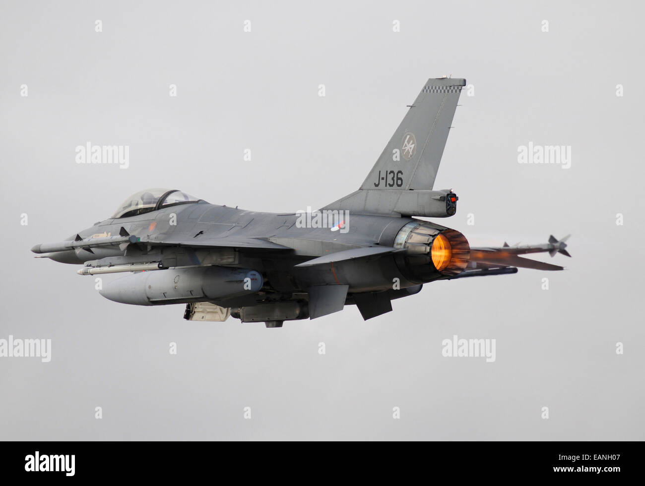 Dutch Air Force F-16AM taking off with full afterburner during NATO TLP, Albacete, Spain. Stock Photo