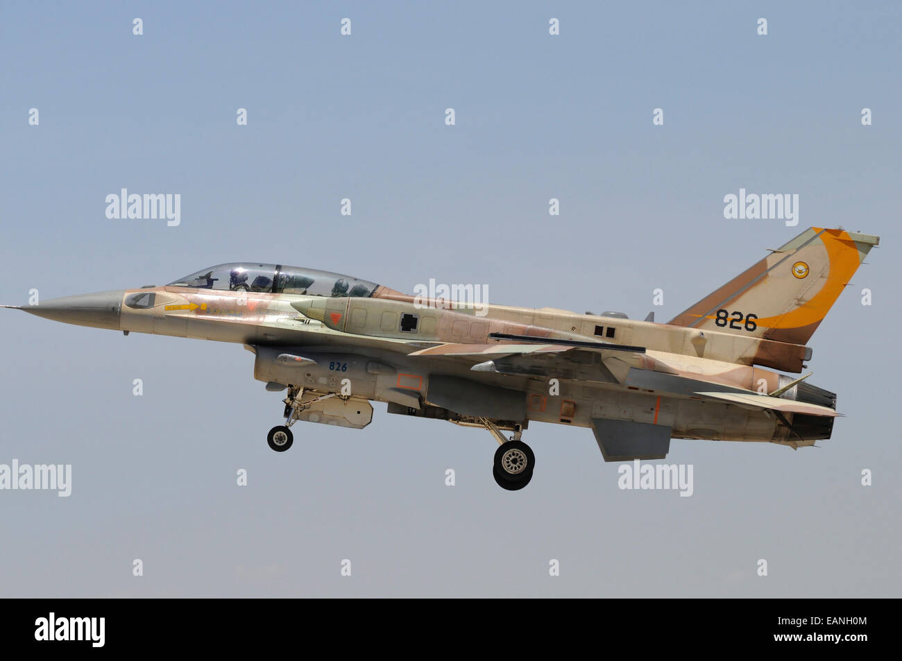 Israeli Air Force F-16I Sufa prepares for landing at Hatzerim Airbase, Israel. Stock Photo