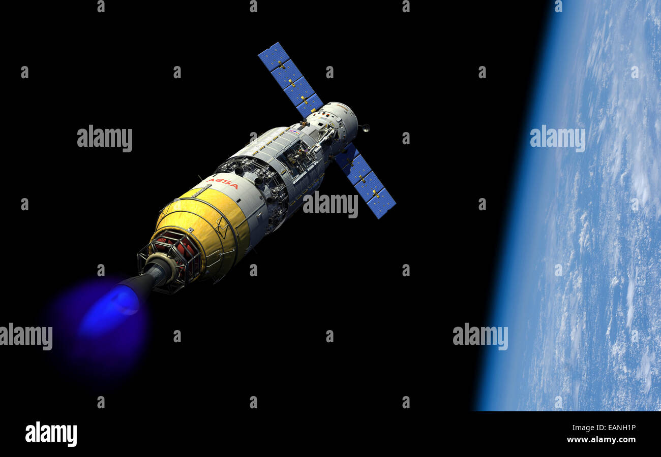 A manned orbital maintenance platform (OMP) docked with a manned reusable crew capsule (RCC) in low Earth orbit - Stock Image