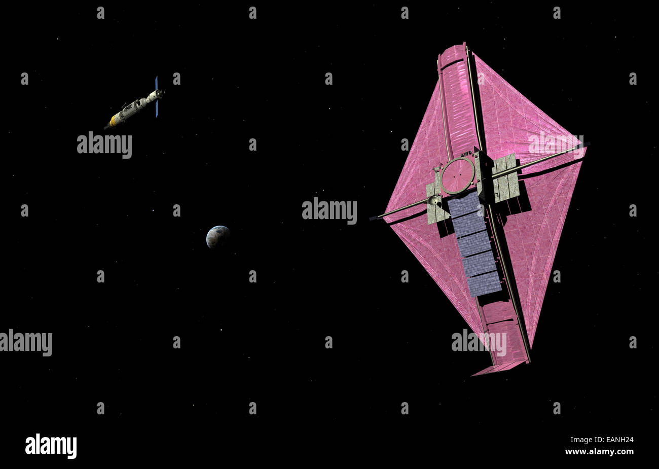 A manned orbital maintenance platform (OMP) approaches NASA's James Webb Space Telescope (JWST). The James Webb Stock Photo