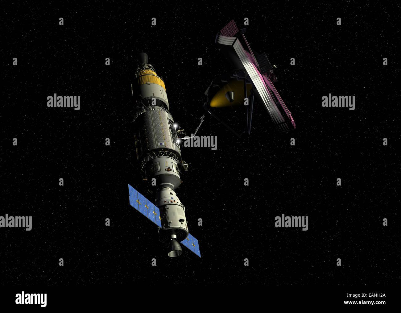 A manned orbital maintenance platform (OMP) sidles up to NASA's James Webb Space Telescope (JWST) for repair - Stock Image