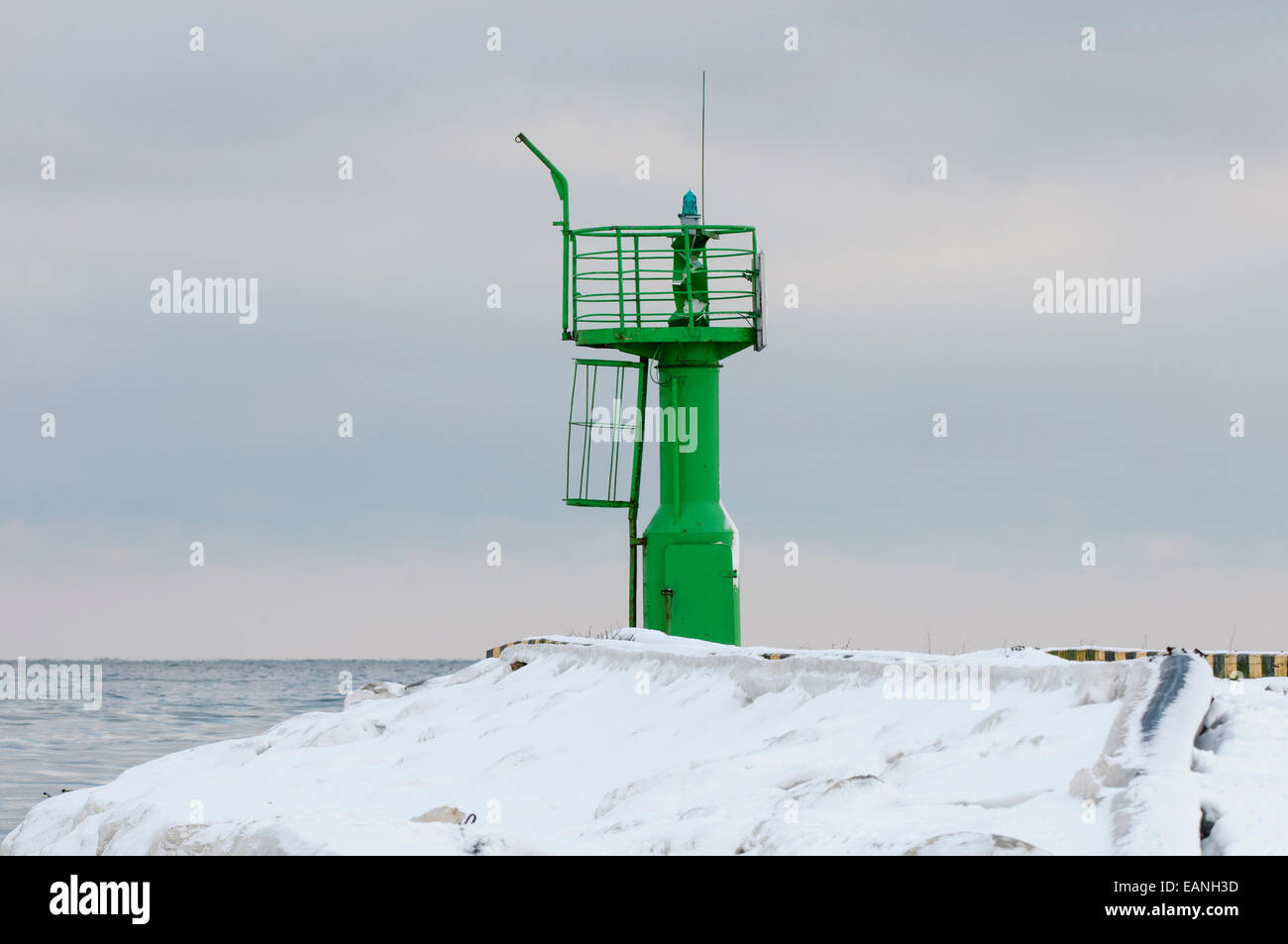 Lighthouse in winter, Mersrags, LatviaStock Photo