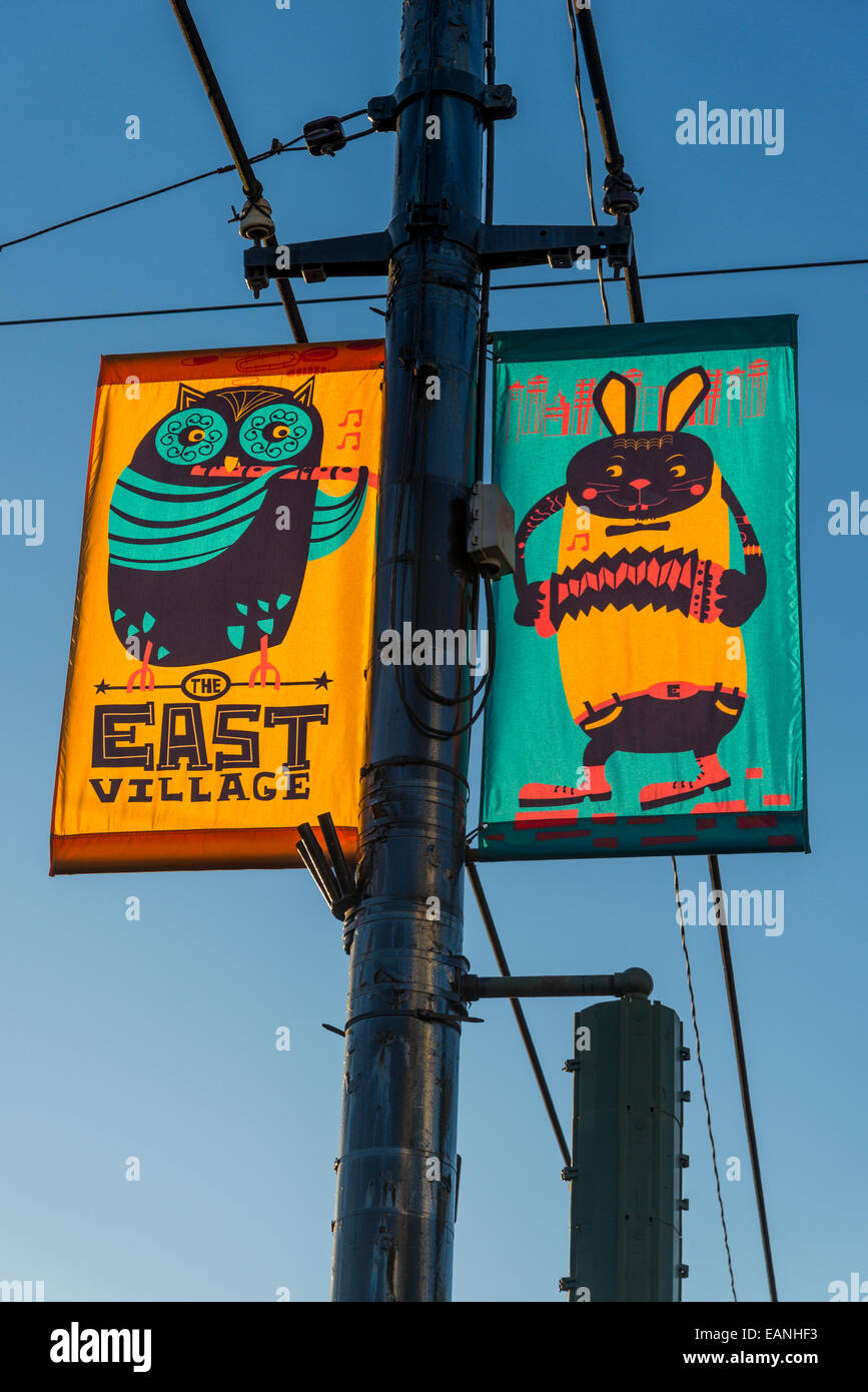 East Village street banners, Vancouver, British Columbia, Canada - Stock Image