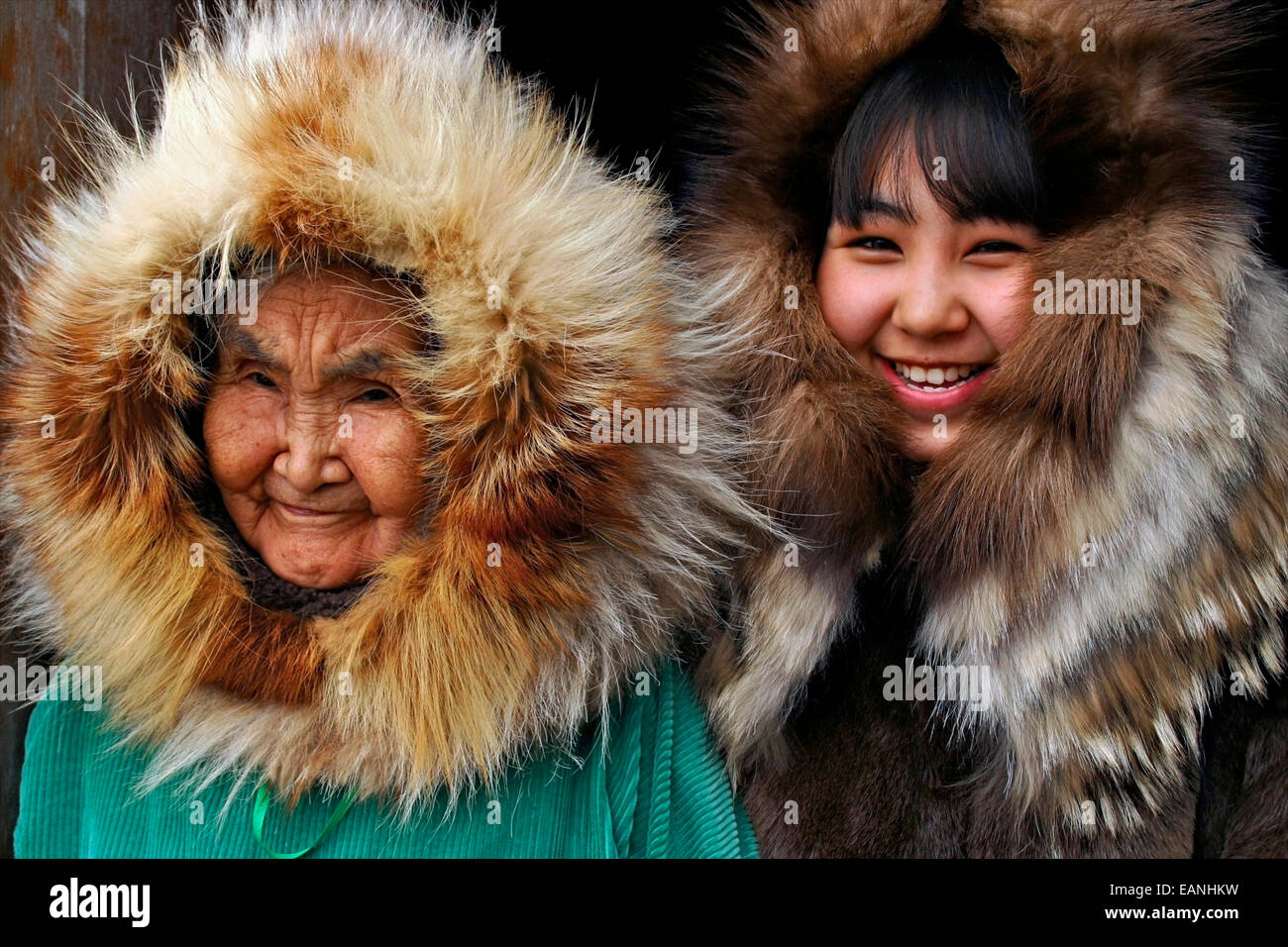Portrait Of A Grandmother And Granddaughter Near The Yup'ik Village