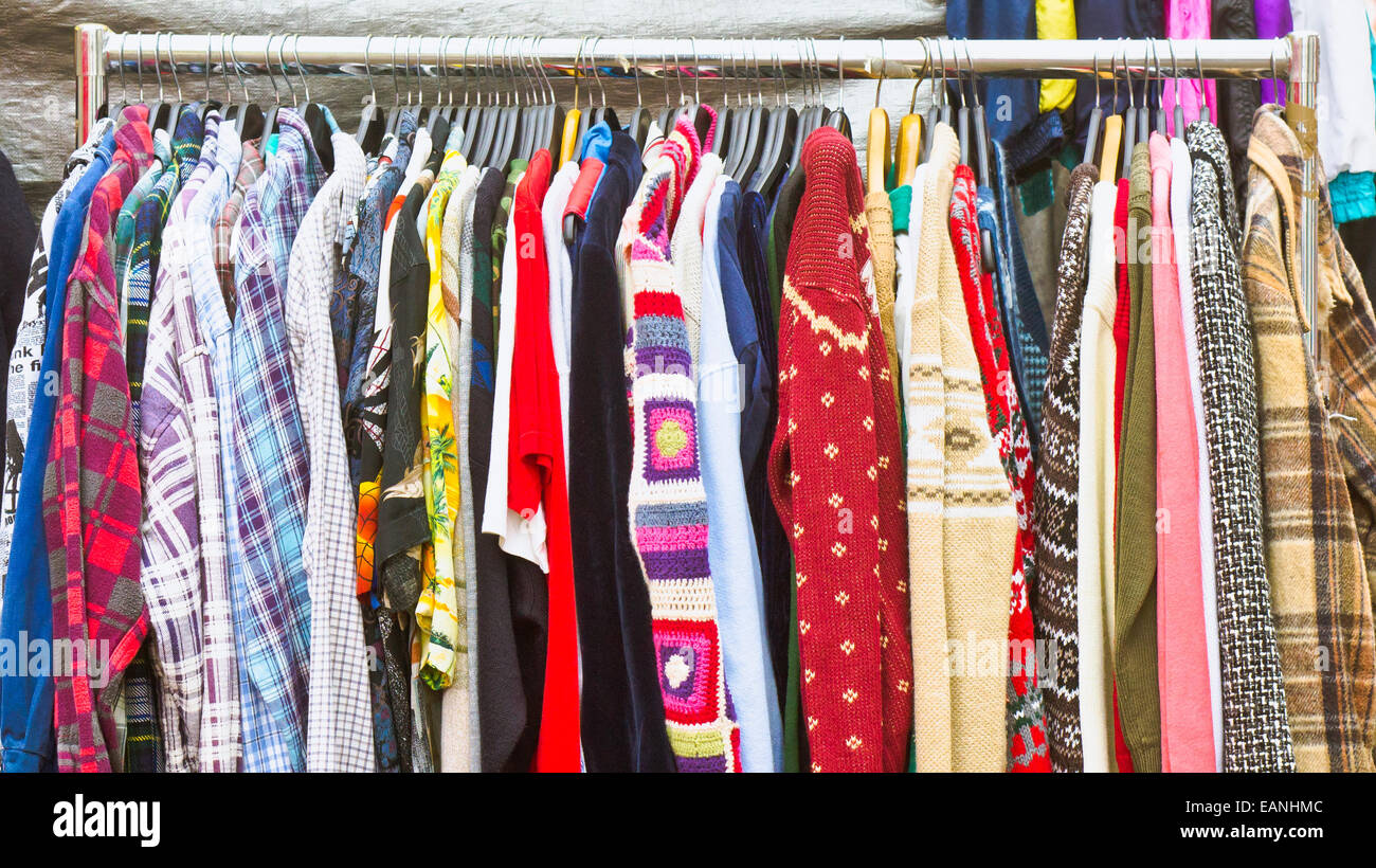 Second hand clothes on sale at a market Stock Photo: 75462924 - Alamy