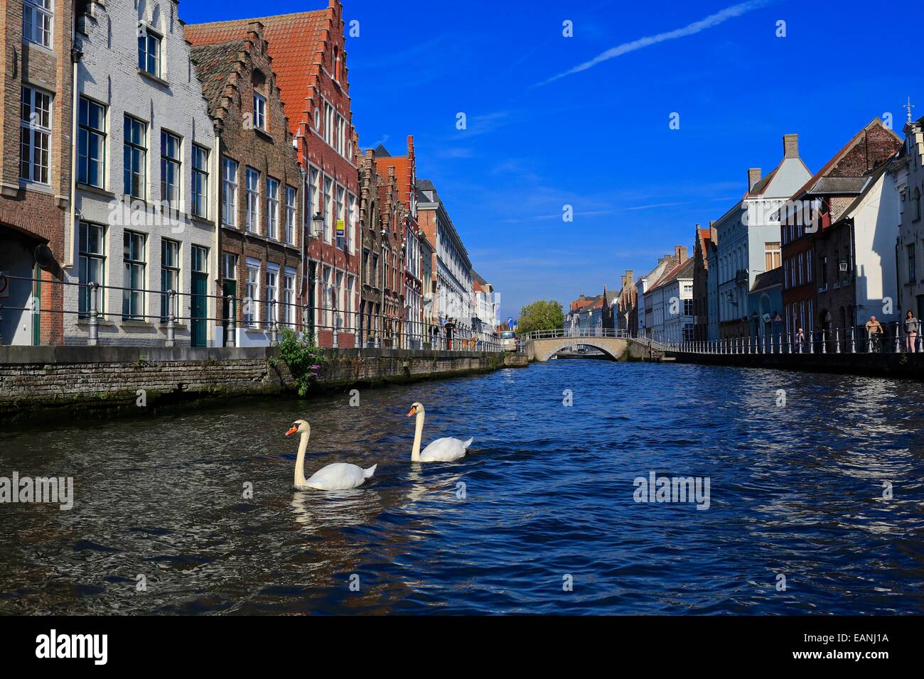 Bruges old town Canal scene showing bridge across St Annarei  canal, Belgium. Bruges canal scene Bruges old town - Stock Image