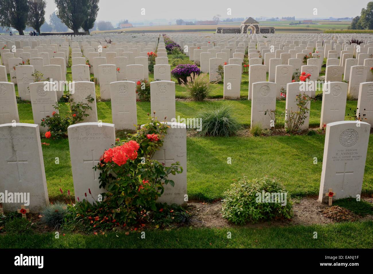 Tyne Cot Commonwealth War Graves Cemetery and Memorial to the Missing. Tyne Cot, near  Ypres (Leper) Belgium. Tyne - Stock Image