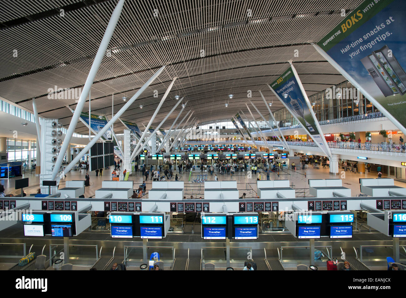 Departure hall with check-in desks, Cape Town International Airport, Western Cape, South Africa - Stock Image