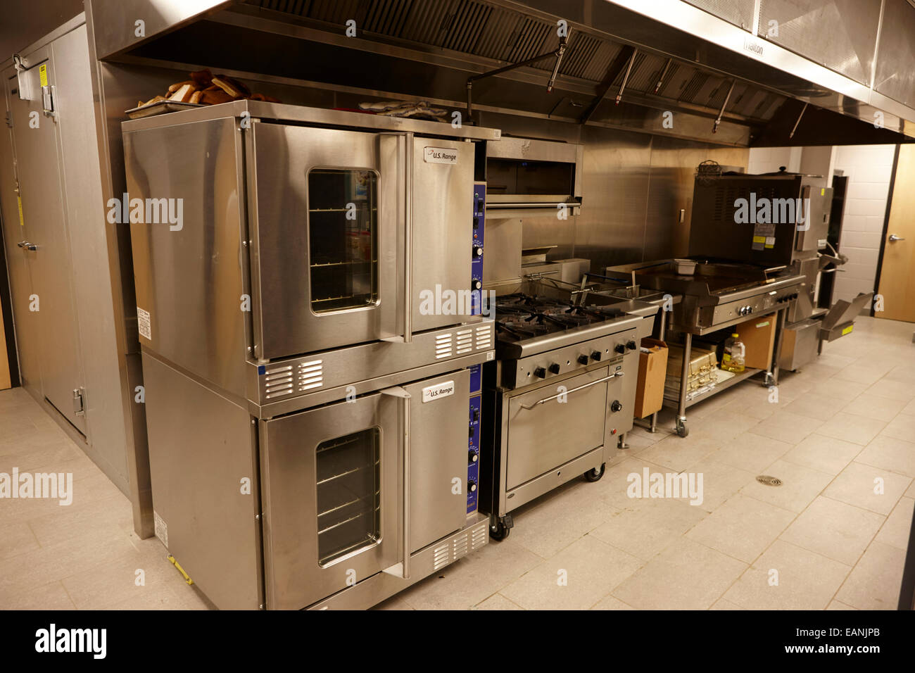 grills and ovens in a north american high school canteen - Stock Image