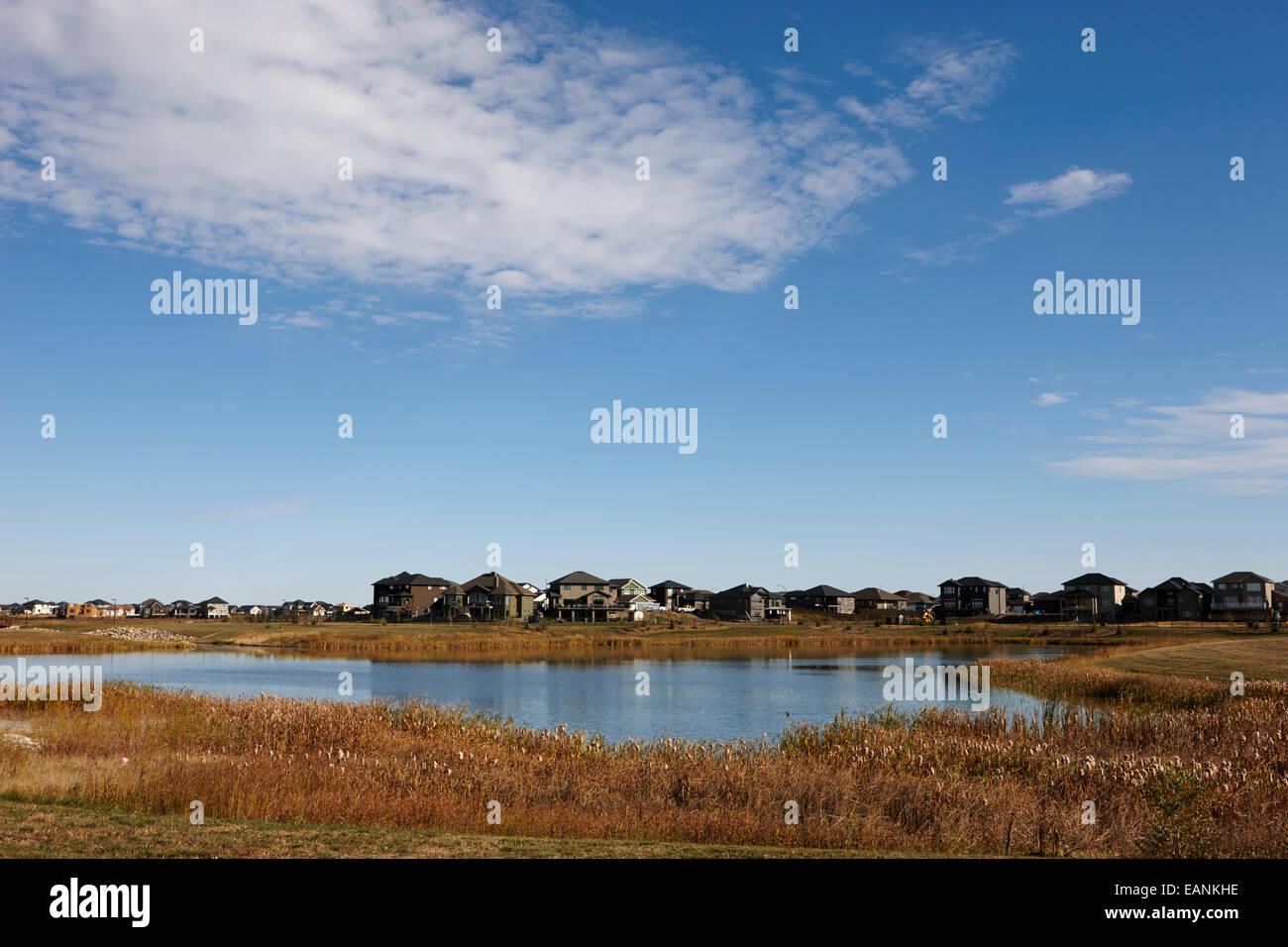 managed lakeland habitat area landscaped protected suburb saskatoon Saskatchewan Canada - Stock Image