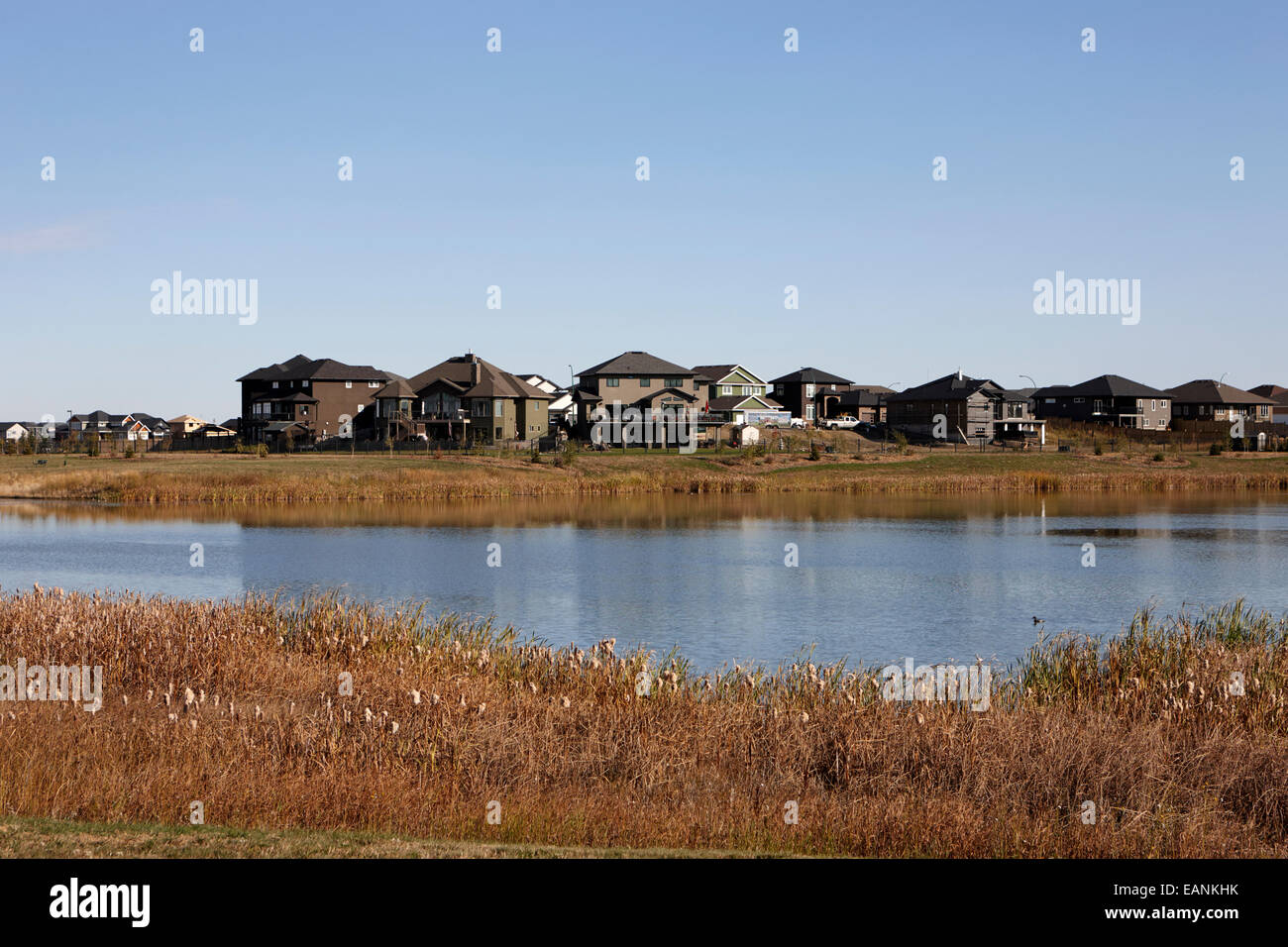 managed lakeland habitat area landscaped protected suburb saskatoon Saskatchewan Canada - Stock Image