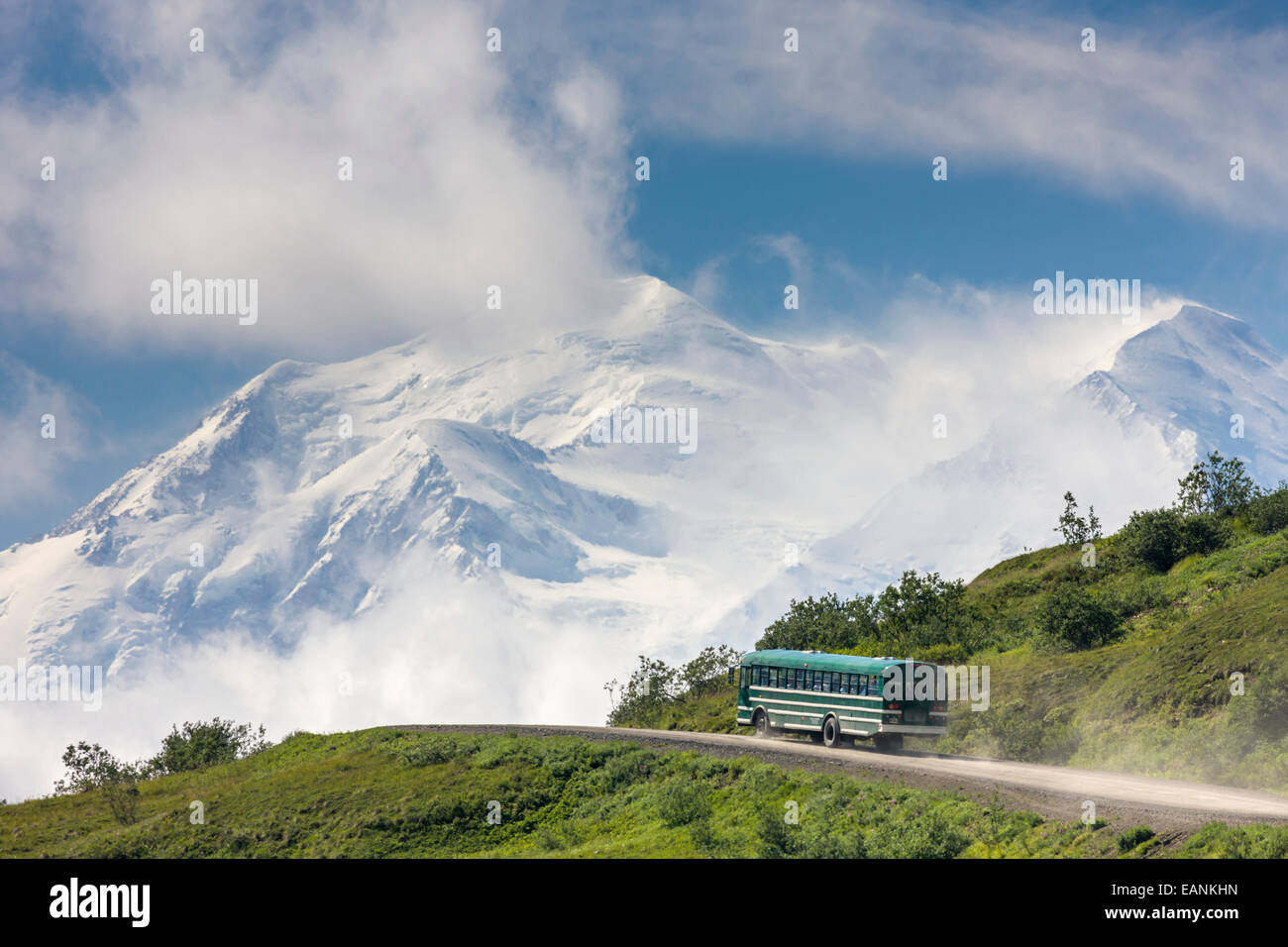 Tour Bus Travels The Park Road With Mt. Mckinley In The Background, Denali National Park, Interior, Alaska. - Stock Image