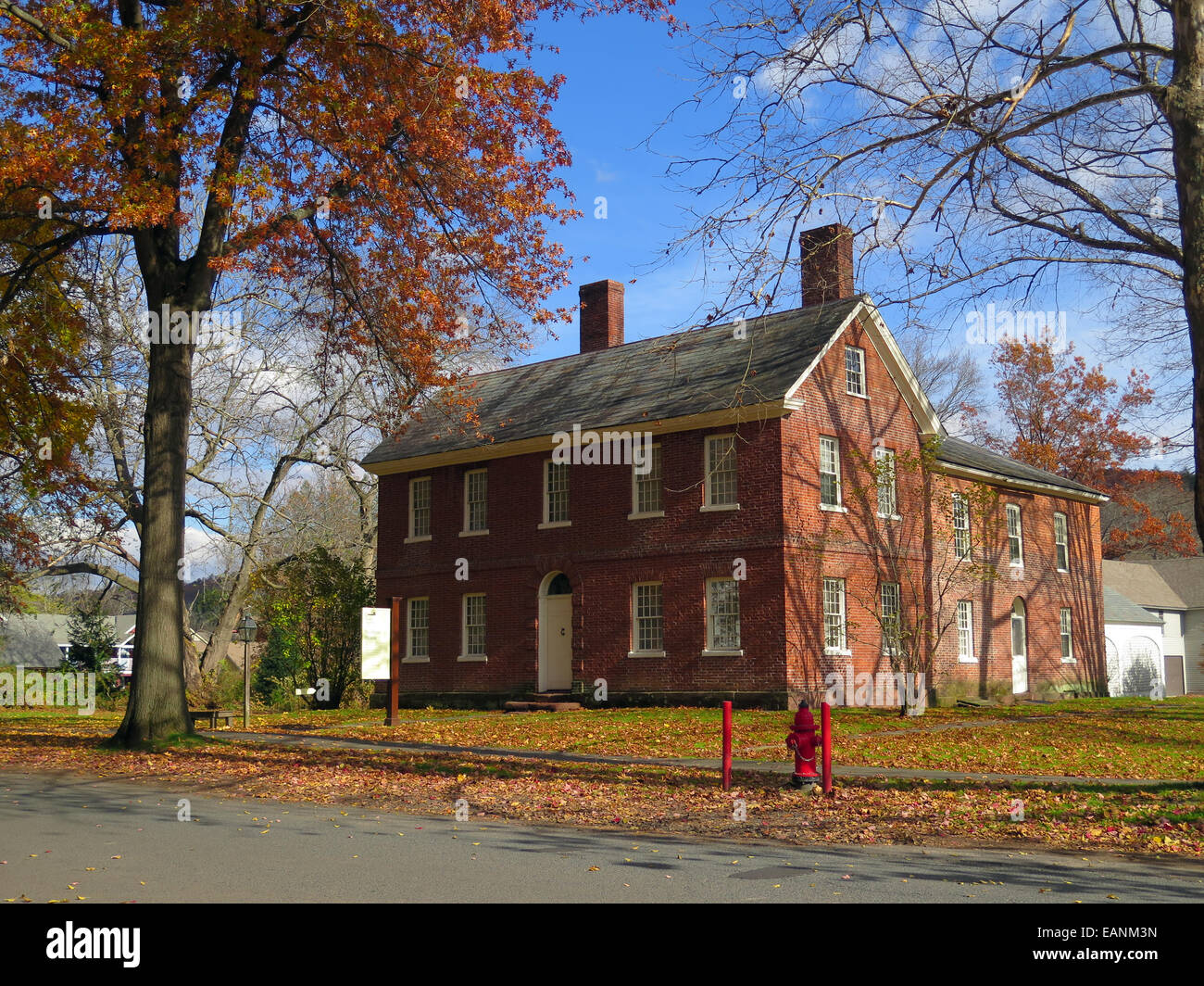 Deerfield, Massachusetts, Historic Deerfield, Old Deerfield, Stebbins Houe, first brick house, 1799. - Stock Image