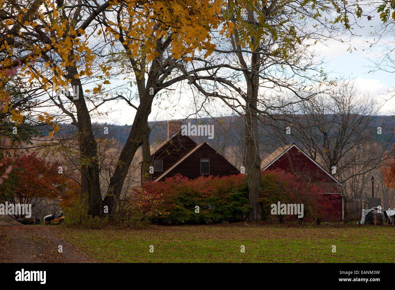 Deerfield, Massachusetts, Historic Deerfield, Old Deerfield, farm, countryside, autumn, foliage season, - Stock Image