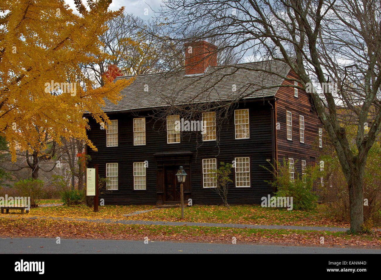 Deerfield, Massachusetts, Historic Deerfield, Old Deerfield, bright fall foliage reflects in the windows of Allen - Stock Image
