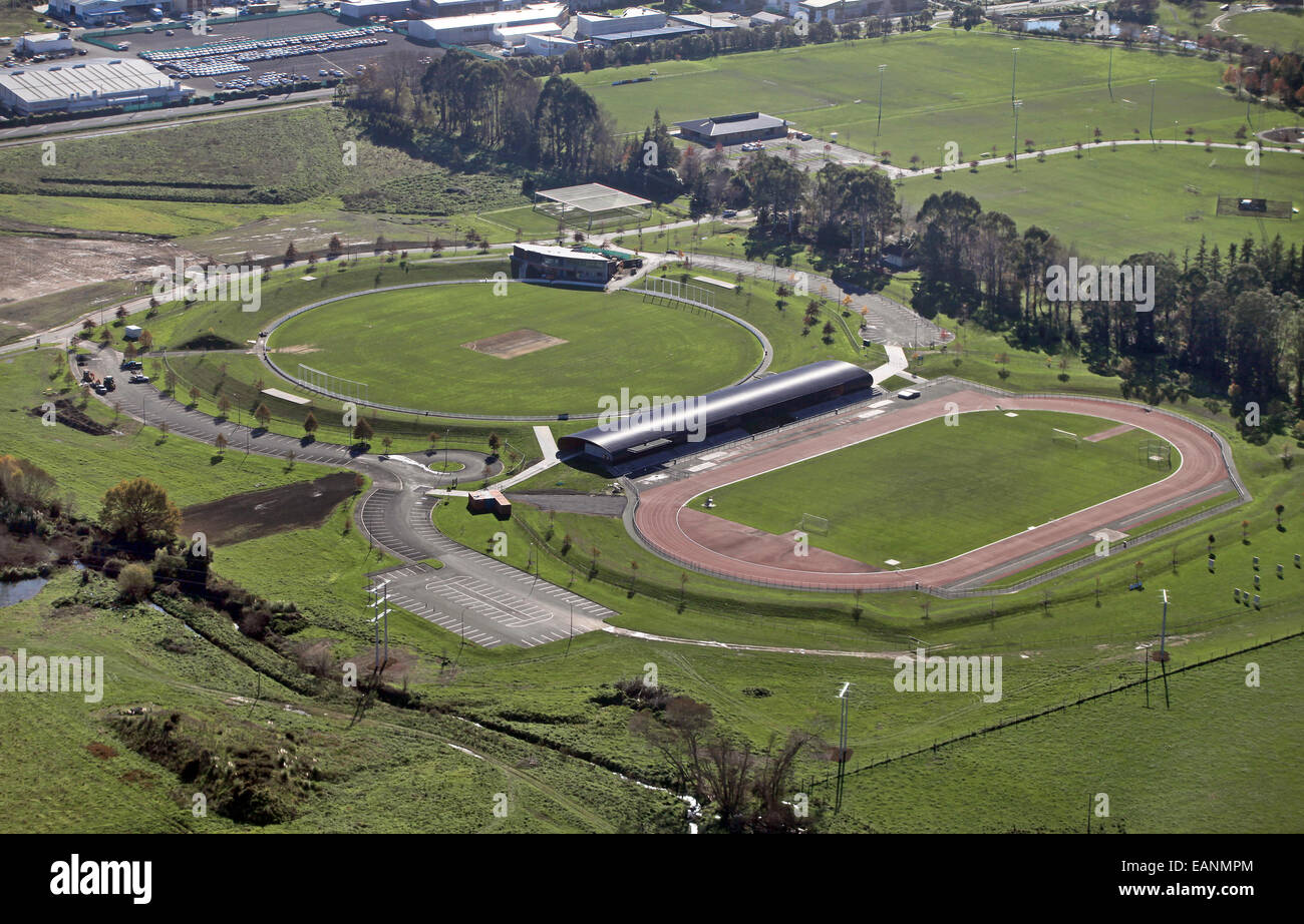 Saxton Oval cricket pitch to be used for three matches in the 2015 Cricket World Cup, being hosted by New Zealand - Stock Image