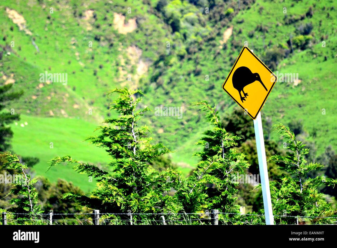 Kiwi bird sign in New Zealand - Stock Image
