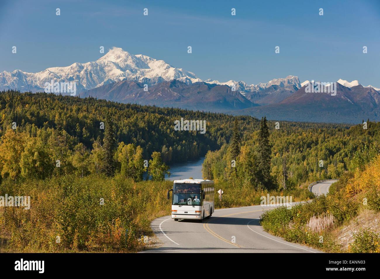 Alaska,Alaska Range,Autumn,Bus,Day,Denali - Stock Image