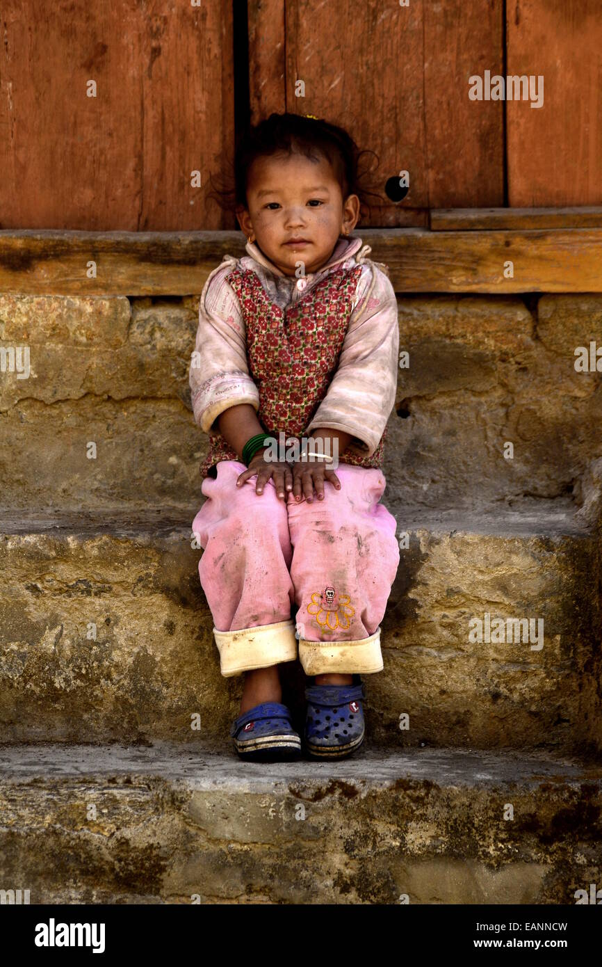Nepalese child in Mustang Region - Stock Image
