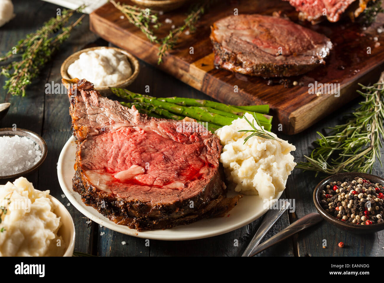 Homemade Grass Fed Prime Rib Roast with Herbs and Spices - Stock Image