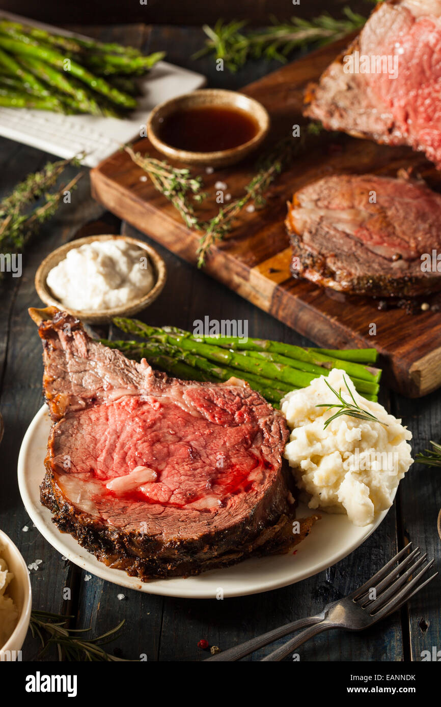 Homemade Grass Fed Prime Rib Roast with Herbs and Spices Stock Photo
