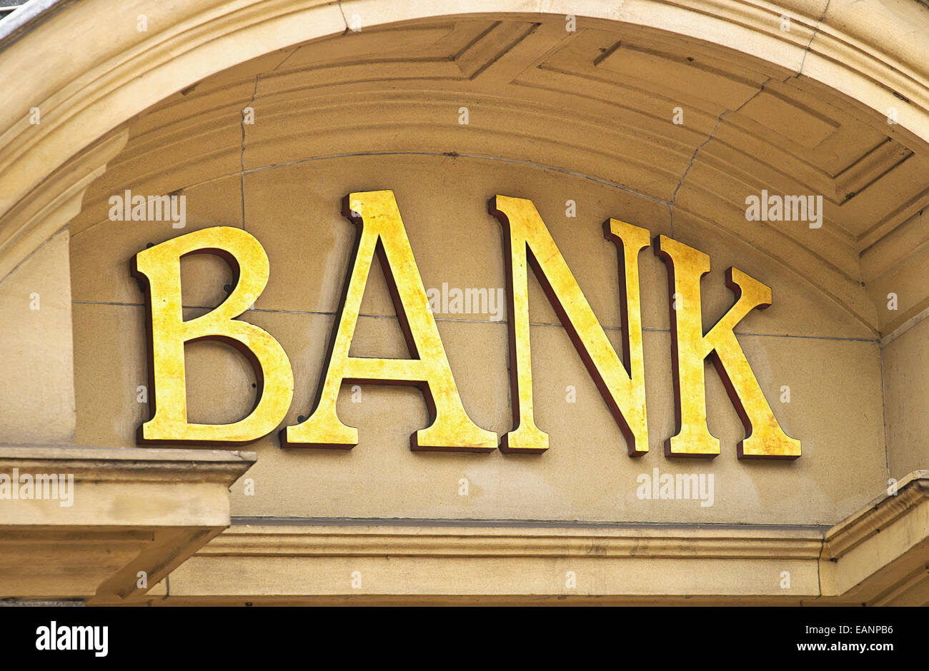 Gold Bank sign at the entrance to a Banking institute in the centre of the financial sector - Stock Image