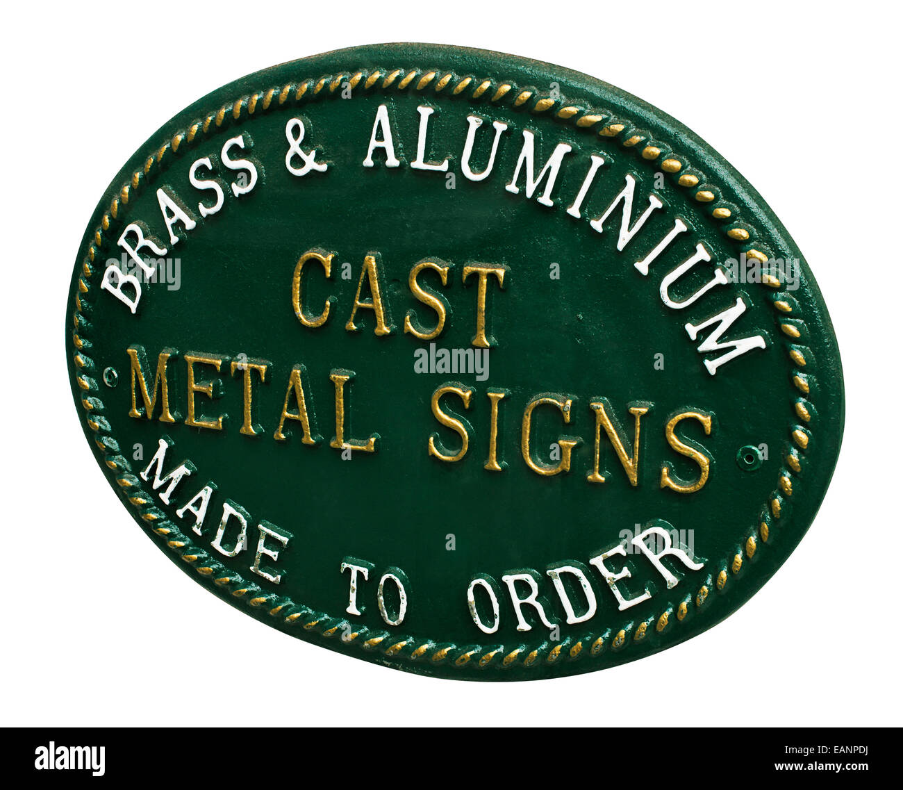 Cast Metal sign for selling custom signage for a new business or home a great example of lettering and decorative Stock Photo