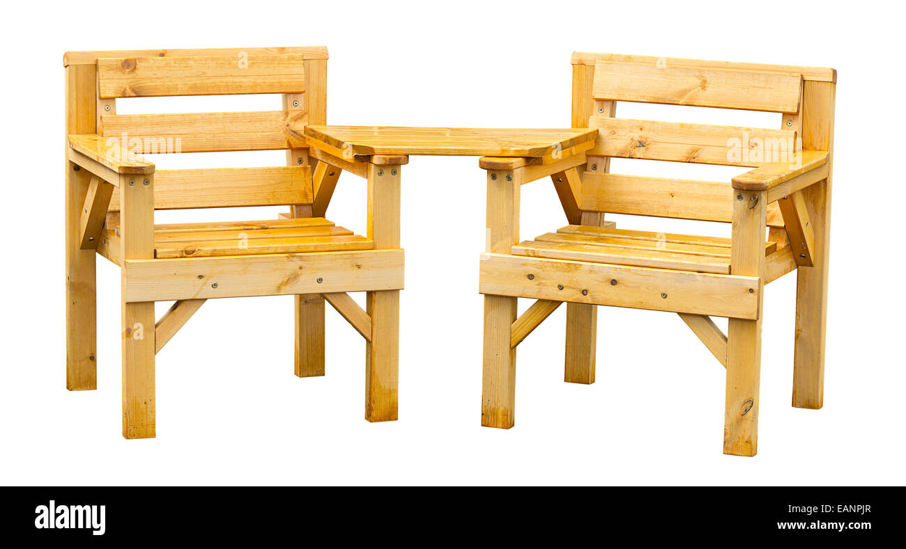Double patio seating made from pine a popular soft wood often used for garden furniture. Stock Photo